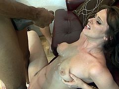 Take a look at this hot scene where this babe fucks a guy with a strapon before being fucked by another dude with a big black cock.