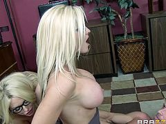 Alena Croft and Summer Brielle, wearing glasses, are playing dirty games with Johnny Sins indoors. The blondes give a blowjob to Johnny, then ride his weiner by turns.