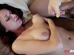 Watch this hardcore scene where the beautiful brunette Ashley Graham sucks on a big cock before having her wet pussy drilled by it.