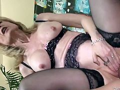 Horny fair haired cougar in black lingerie gets fucked by her young freak hard
