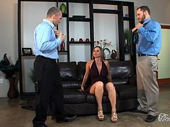 Take a look at this brilliant hardcore scene where the busty blonde Devon Lee is fucked hard by two guys in an outstanding threesome.