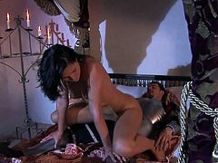 Kety gets her pussy licked then she climbs on top of this knight in shining armor and rides his hard cock in a crazy fantasy story.