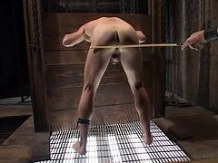 Maybe this guy was arrogant and the executor had to give him a lesson or maybe he's just a whore that loves a firm punishment and a hard cock shoved up his ass. Either way Leon is taking it it now and boy is he enjoying the treatment. The executor starts with some ass spanking then fucks his mouth and his ass!