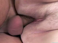 Fat granny with big tits gets fucked in sideways position