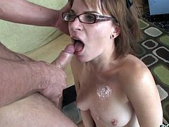 Hypnotize lady with hot ass in glasses swallows a heavy cock easily before allowing her shaved pussy feasted mercilessly from all directions as she moans
