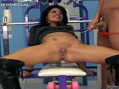 Solo model brunette with natural tits in black high heels gives her guy a superb handjob before getting feasted hardcore in the gym