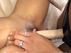 Lesbian lady with food fetishism enjoying her shaved pussy being over loaded with different fruits before having the pleasure of sex toys