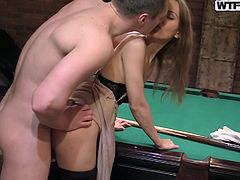 For some money she agree to fuck them both. I think she doing that not only for money, she also wants to try it with two guys same time. Down on her knees with two big cocks was her fantasy. You don't know who is more excited, the girl or those guys? I think she is, just look how she moaning when while she sucking a guy and another takes her from behind.