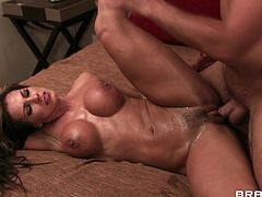 Brown-haired bitch Esperanza Gomez shows her big fake tits to Keiran Lee and lets him drive his boner in her snatch. They fuck doggy style and in the side-by-side pose and seem to be unable to stop.