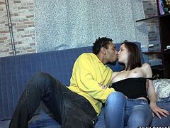 Brunette hottie Alice is having fun with black dude called Misha. They fondle each other passionately, then fuck doggy style and in the cowgirl pose. In the end, Alice gets cum on her tits.