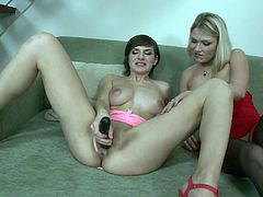 It's anal fun time for lesbian babes Lucy and Nina as they strip off their lingerie then finger and toy their tight assholes.