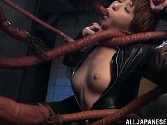 The sexy Elly Arai gets trapped by a massive fucking monster and gets her cute little face covered with cum dripping down her juicy boobs.