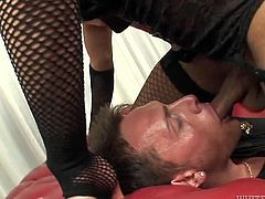 Black busty tranny in fishnets mouth fucks her stud hard