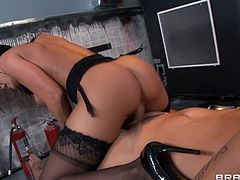 A gorgeous blonde pornstar with long hair, big beautiful tits and a fabulous body enjoys a mind-blowing FFM threesome fuck.