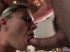 Amazing MILF cougar in a sexy bikini and fishnet top giving a superb blowjob then bends over and gets drilled doggy style