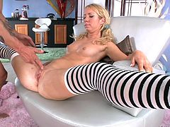 Alan Stafford and slutty blonde Nicki Blue are having a great time together in hardcore reality scene. The man drills Nicki's butt with a dildo, then pounds it hard doggy style.