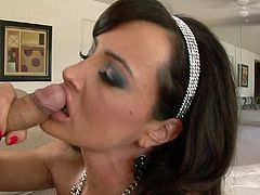 Get a hard dick by watching this brunette pornstar, with big fake jugs wearing nylon stockings, while she serves a blowjob and gets a facial cumshot.