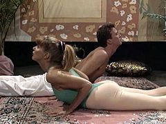 Exotic couple in gaming attires gets flexible by practicing some yoga on top of a woolen carpet in a reality sport tease indoors