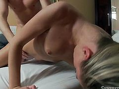 Big buttoned torrid lassie blows massive penis of her first BF