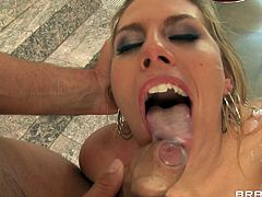 Get a load of Charisma Cappelli's in this hardcore scene where this sexy blonde ends up with a mouthful of semen after being fucked up her asshole.
