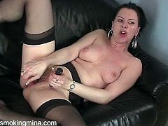 Horny cougar with natural tits in black stockings gets into her birthday suit before sucking a heavy dick and getting her saved pussy pounded hardcore