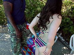 She's slim, cute and milky white. This chick is a hottie and she's about to find out how much she loves bbc. Yep, after relaxing outdoors for a while, she founds out how a black dick tastes like, when this dude pays her a visit. The chick looks at him with desire, kneels and delights herself with his dong.