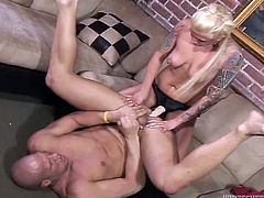 Hot pegging scene with the horny blonde Monroe Valentino