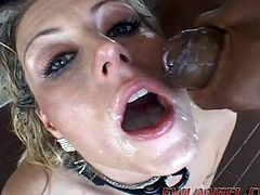 Bondage loving slut with big tits and hot ass deepthroats in interracial gangbang and gives blowjobs before getting cumshot to swallow