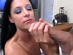Brunette in MMF interracial threesome gives blowjob and ball licking in thong and gets her pussy banged hardcore before getting cum in mouth