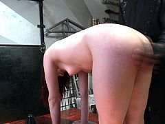 Big-assed bitch shows her shaved cunt and gets spanked