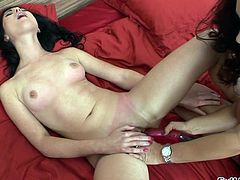 Two sexy brunette lesbians in bra licking wet twat and use vibrators, strapon and other sex toys to fuck tight pussy and asshole