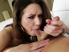 Salty brunette Sarah Shevon bites balls and guzzles meaty cock