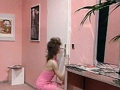 Lusty retro whore blows hard cock and rides it reverse