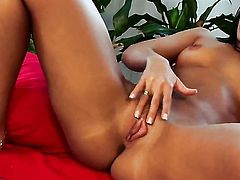 With tiny tits and trimmed muff finds herself horny and takes toy in her fuck hole