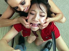 Curious Asian chick with long hair in miniskirt drives her sexy lips mouth in a nasty face fucking till she gets a facial cumshot in a threesome