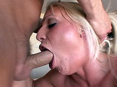 Beautiful cougar with big natural tits pose seductively before enjoying her juicy pussy being licked and hammered hardcore till the he cums in her mouth