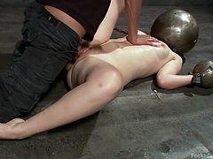 I must say, they playing a really nasty game with those iron balls. He put her hands and head in those balls. She cant move, she cant see and that's making her so vulnerable. But she likes that, to be 100% dominated. The guy can do to her all he wants. For moment he is fucking her deep in her cunt. But who knows whats next. Maybe he will gape her ass!