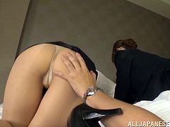 Gorgeous dames with sexy legs in uniform gives a massive dick a superb blowjob while displaying their hot ass in a threesome