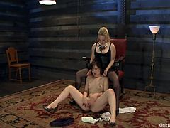 Mistress Aiden Starr is as beautiful and evil as she is skilled. She knows how and when to punish or please and this time we get to see her in action. The blonde beauty brought her brunette sex slave and humiliated her in a very pleasant manner. Stay some more and enjoy the rest of it!