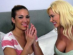 Summer and Kylie are heading to their apartment. They get in the elevator and they get all crazy, and look at each other's big boobs. The guy who is video-taping them gets kinda horny, so when they get inside the apartment, he enjoys how the girls play with their sexy bodies. They both get on their knees and suck this guy's dick.