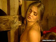 Rita Faltoyano is fucked hard by a guy in a barn