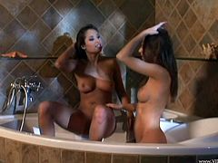 Beautiful lesbian with fake tits in fishnets get cozy with her chick and start licking her juicy pussy in a cozy bath tab