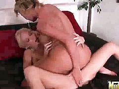 Blonde Molly Cavalli with huge breasts and bald pussy enjoying great masturbation session