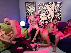 Make sure you don't miss out on this hardcore scene where these smoking hot babes are fucked silly by these guys in a hot group sex.