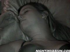 Gorgeous sleeping doll with belly piercing in bra wakes up and give a heavy massive dick a blowjob before getting nailed hardcore