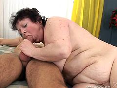 Marvelous matured BBW with big tits suck heavy balls passionately before getting her sex hole penetrated hardcore doggystyle