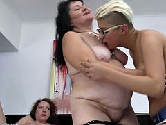 Here we have a fat, old lesbians and two of her best gf. One blonde and the other one brunette and young, the whores' gf's are crazy after a fuck. Elrike stays between them and fests herself with a lot of lesbian love and compassion. The fat, chubby whore is about to have one hell of a good time.