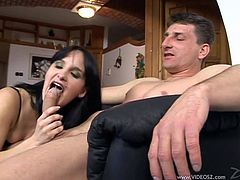 Have fun with this hardcore scene where the horny pregnant brunette Alexandra is fucked by a guy while she wears lingerie.