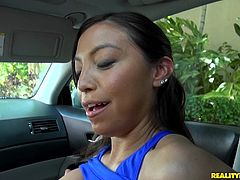 Mimi wants to have some fun after finishing her physical exercises. The brunette hot latina seems very proud of her big tits. That's why she so enthusiastically shows them to the camera. Watch the slutty babe following a guy at his place where she can demonstrate how flexible and playful she can get. Click!