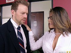 Take a look at this amazing hardcore scene where the sexy Danica Dillon sucks on a coworker's big cock in the office before being fucked.